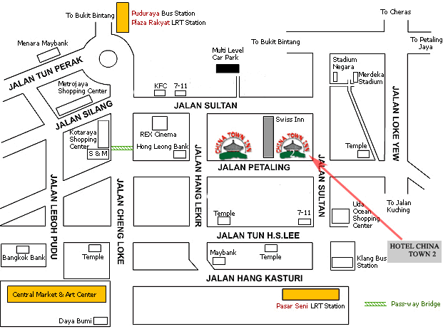 Map to Hotel China Town 2