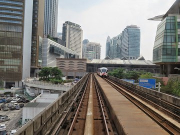 RapidKL LRT train entering KL Sentral LRT station