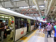 Getting on RapidKL LRT train, KL Sentral LRT station