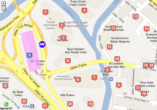 Map to Putra Bus Terminal