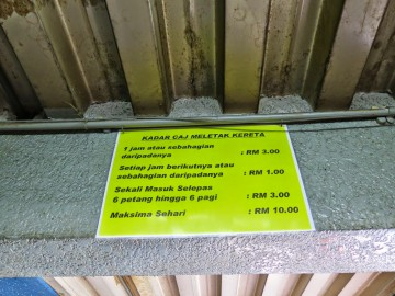 Parking rates, Putra Bus Terminal
