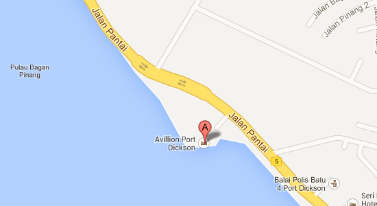 Map to Avillion Port Dickson