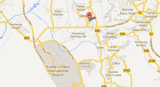 Map to Empress Hotel, Sepang