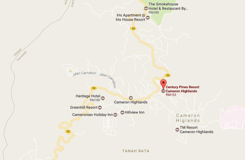 Century Pines Resort Location Map