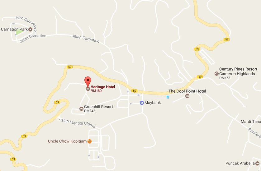 Heritage Hotel Cameron Highlands Location Map