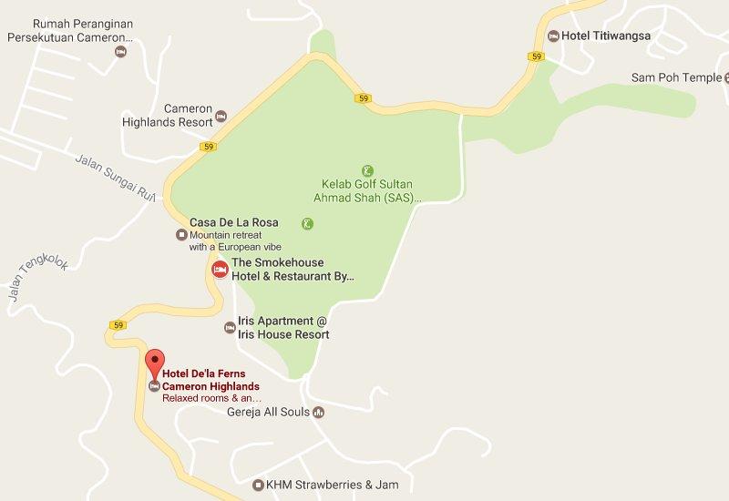 Hotel De' La Ferns Location Map