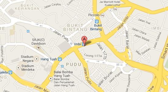 Map to Berjaya Times Square Hotel
