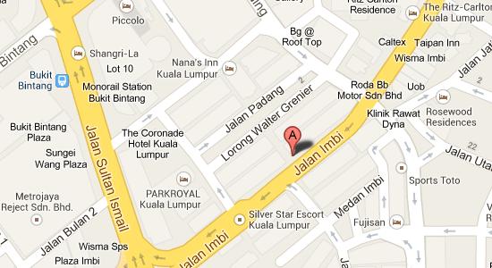 Map to Dorsett Regency Kuala Lumpur