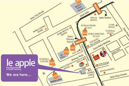 Map to Le Apple Boutique Hotel