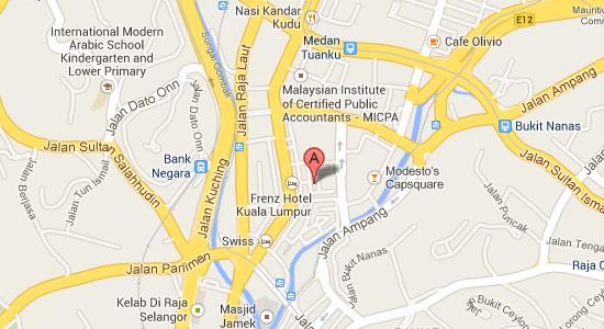 Map to StartPoints Hotel Kuala Lumpur