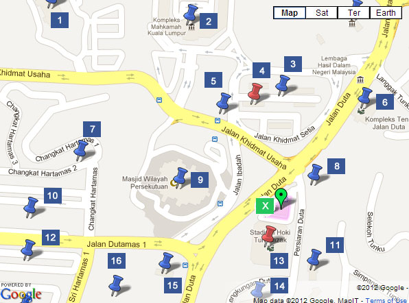 Map to Duta Bus Terminal