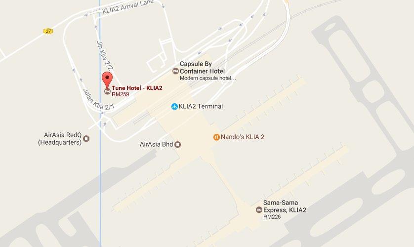 Tune Hotel KLIA2 location map