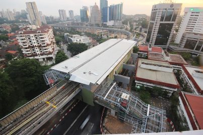 Aerial view of the Semantan station, with Entrance 2 being built on the right.