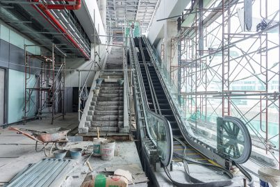 Staircases and escalators being built inside the Semantan Station.