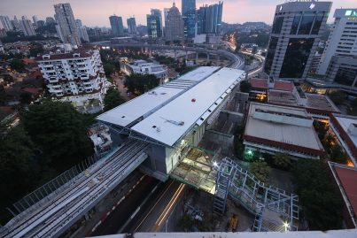 Aerial view of the Semantan Station, with the entrance being built.