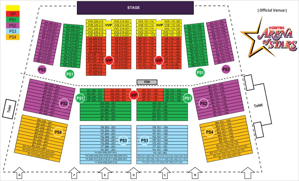 Arena of Stars seating layout
