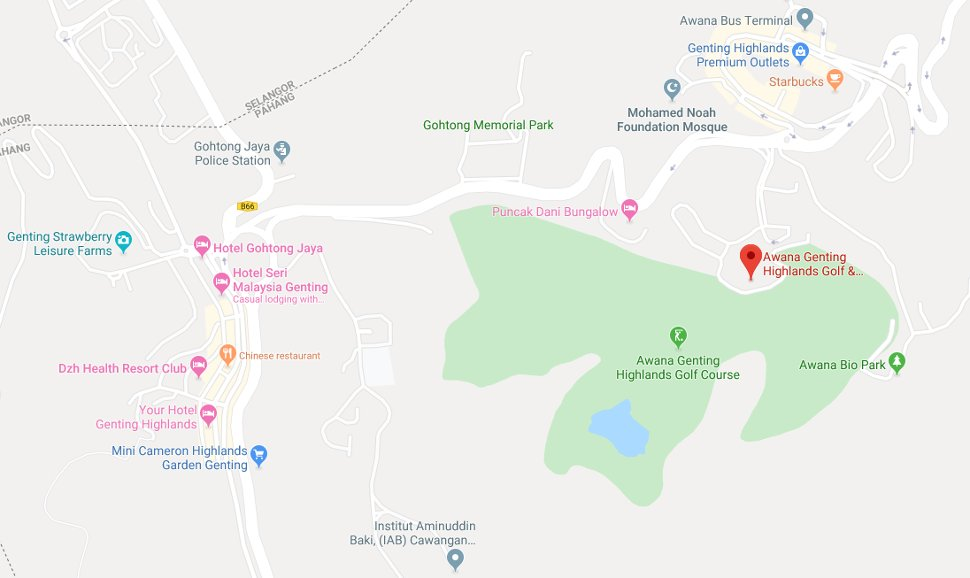 Location of Awana Genting golf course