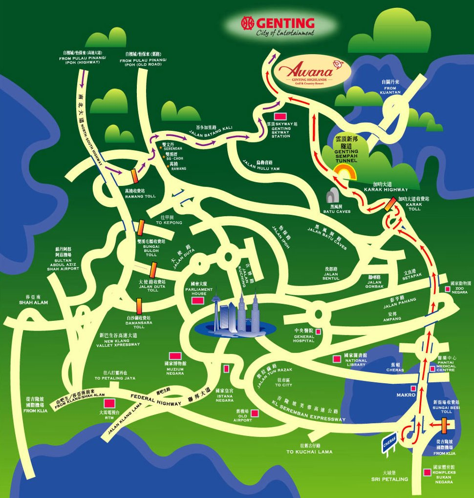 Driving map to the Awana Genting Highlands Golf and Country Resort