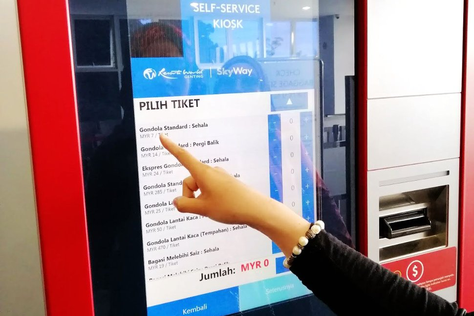 Self-service ticketing kiosk for ticket purchasing