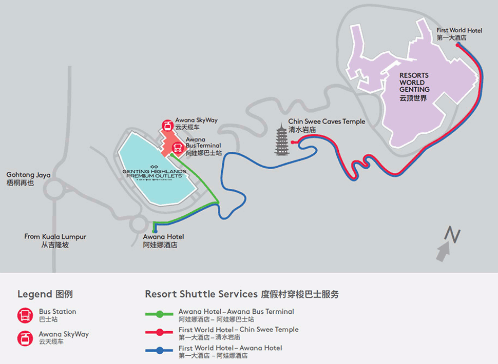 Location map of the Chin Swee Caves Temple and surrounding