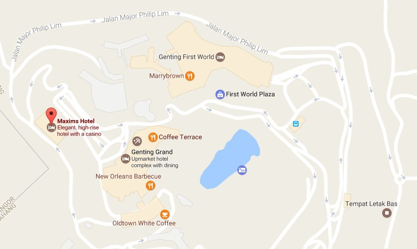 Location map to Maxims Hotel