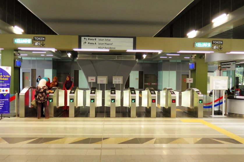 Access gates at the Pusat Bandar Damansara station