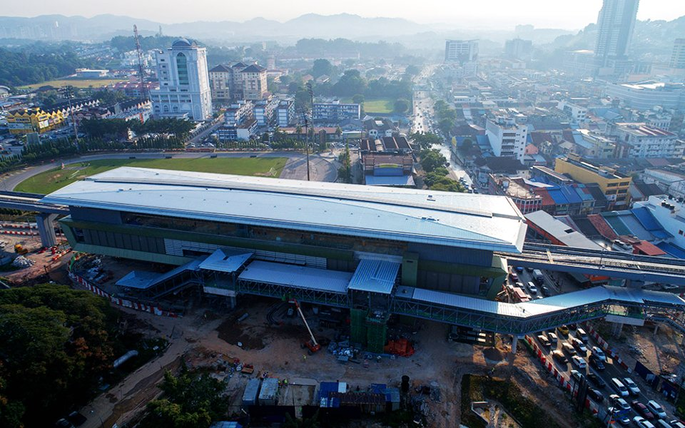 Aerial view of the Stadium Kajang MRT Station undergoing construction works. Jan 2017