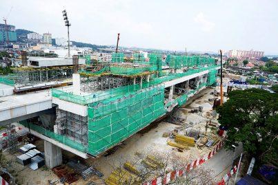 Construction of the Stadium Kajang Station in progress. Jul 2015