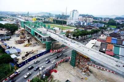 Aerial view of the Stadium Kajang Station which is under construction. Jul 2015