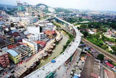 View of the MRT guideway skirting Kajang town centre. Jul 2015