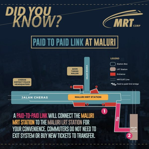 A Paid-To-Paid link will connect the Maluri MRT station to the Maluri LRT station. Commuters do not need to exit system or buy new ticket to transfer.