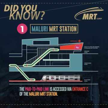 The Paid-To-Paid link is accessed via Entrance C of the Maluri MRT station