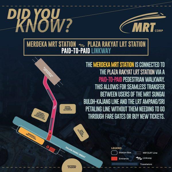 Paid To Paid Link Between Merdeka MRT Station and Plaza Rakyat LRT Station