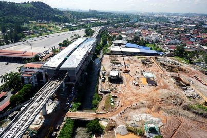 View of the construction of the Bandar Tun Hussein Onn Station. Dec 2015