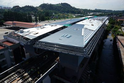 Construction of the station roof is in progress. Dec 2015