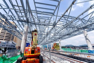 View of the station roof structure being installed at the Bandar Utama Station. Dec 2015