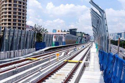 View of the completed MRT guideway with tracks and noise barriers near the Bandar Utama Station. Dec 2015