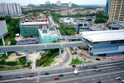 View of the walkway being built to connect the Bandar Utama Station with its Multi Storey Park n Ride building. Jun 2016