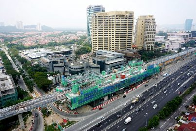 An aerial view of the ongoing construction at the Bandar Utama station. Oct 2015