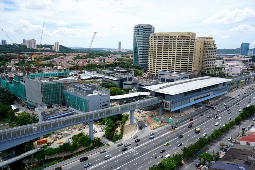 The Bandar Utama Station having its finishing touches done. To its left is the 1Powerhouse building where the entrance to the station and the park and ride facility is located. Sep 2016