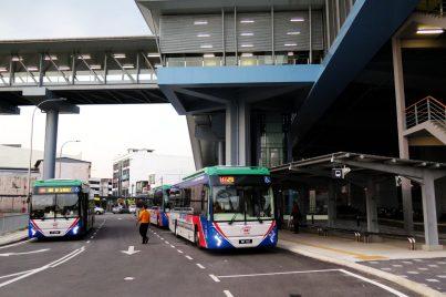 Feeder bus waiting near entrance A