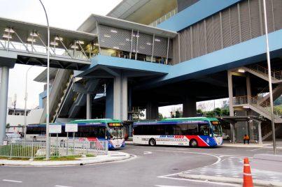 Feeder buses waiting near entrance A