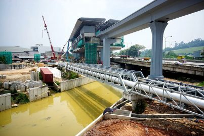 View of the Sungai Langat upgrading in progress near the Batu Sebelas Cheras Station. Apr 2016