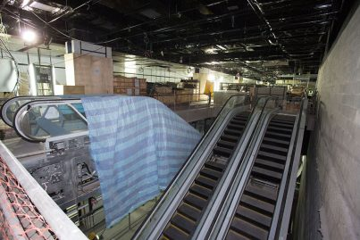 The escalators that have been installed inside the Bukit Bintang Station.