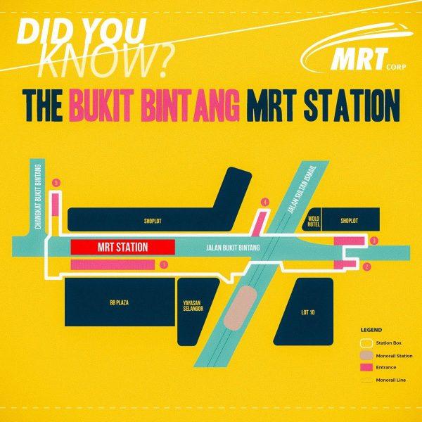 5 Entrances to Bukit Bintang MRT Station