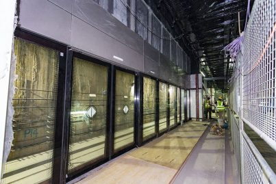 Platform screen doors that have been installed inside the Bukit Bintang Station.