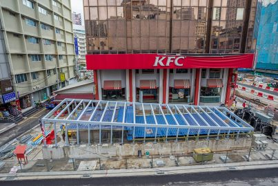 Construction of Entrance A of the Bukit Bintang Station beside KFC in progress.