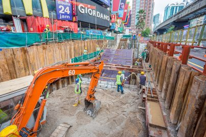 Construction of Entrance F of the Bukit Bintang Station in front of McDonalds in progress.