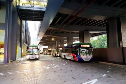 Feeder buses waiting near entrance A