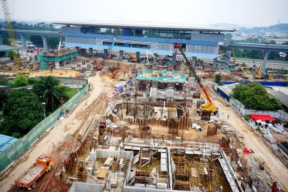View of the multi-storey Park and Ride for the Bukit Dukung Station under construction. Apr 2016